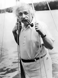 Albert Einstein Smoking a Pipe